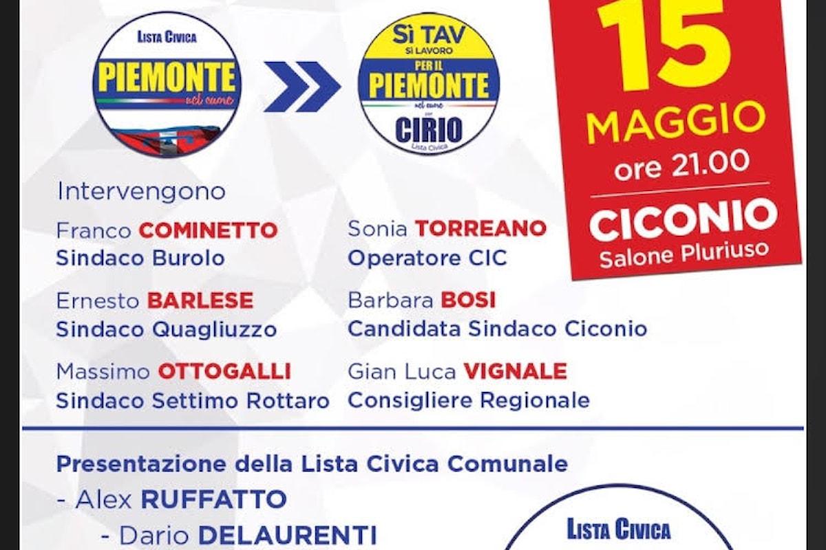 Lista civica per il Piemonte il 15 maggio a Ciconio