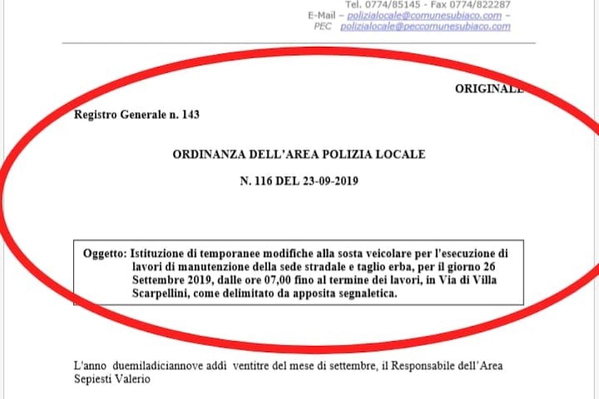 Subiaco, Emanuele Rocchi (Lega): RISULTATO OTTENUTO: PULIZIA STRAORDINARIA IN VIA DI VILLA SCARPELLINI