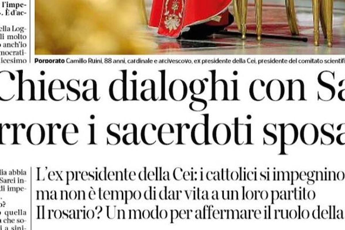 La frase scritta da Péguy e la citazione di Papa Francesco contro il partito dei devoti sostenuto da Ruini con il si a Salvini e il no ai preti sposati