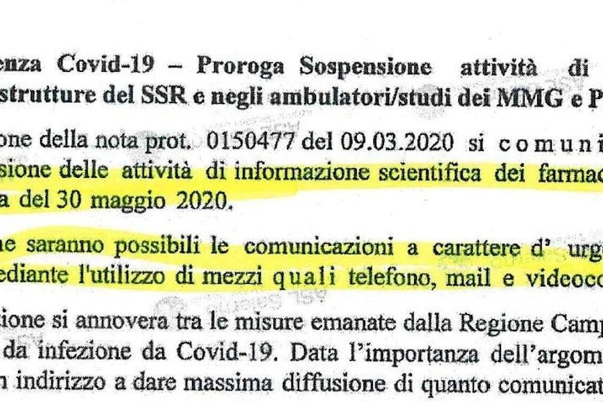 Covid-19: prorogata fino al 30 Maggio dalla regione Campania la sospensione dell'informazione farmaceutica agli studi medici