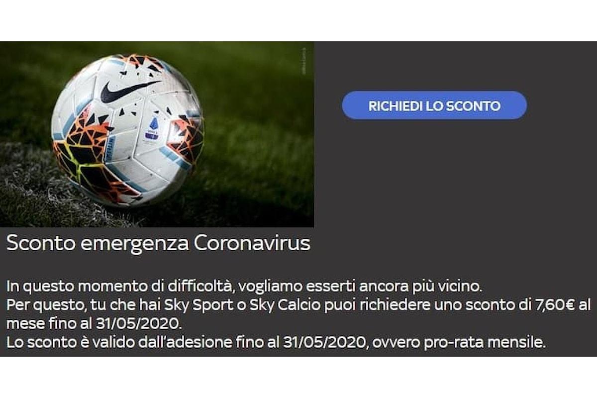 Coronavirus: come richiedere lo sconto a Sky per i pacchetti Calcio e Sport