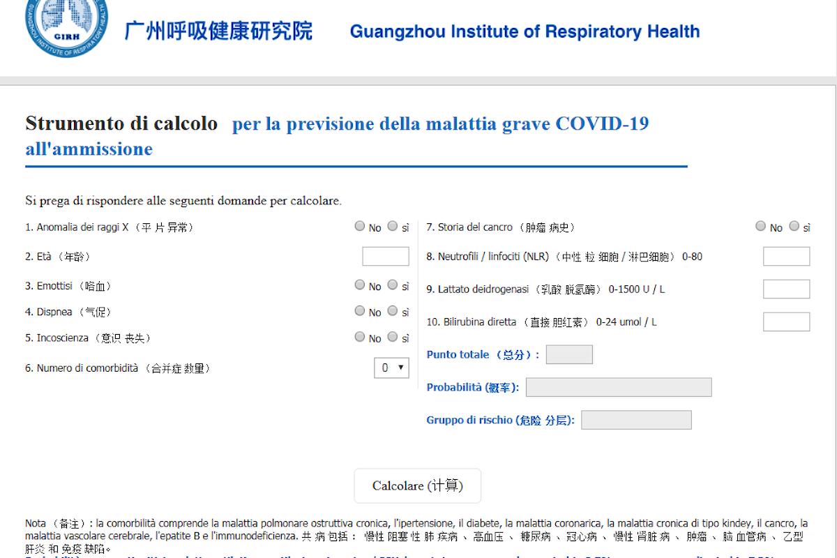 Come calcolare il livello di rischio in pazienti con Covid-19: ecco un modello cinese...