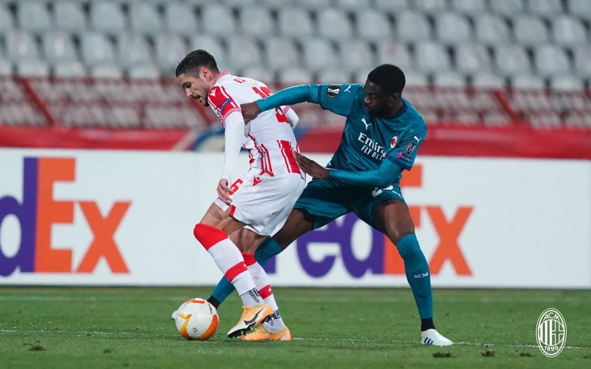 Il Milan pareggia nel finale 2-2 a Belgrado contro la Stella Rossa