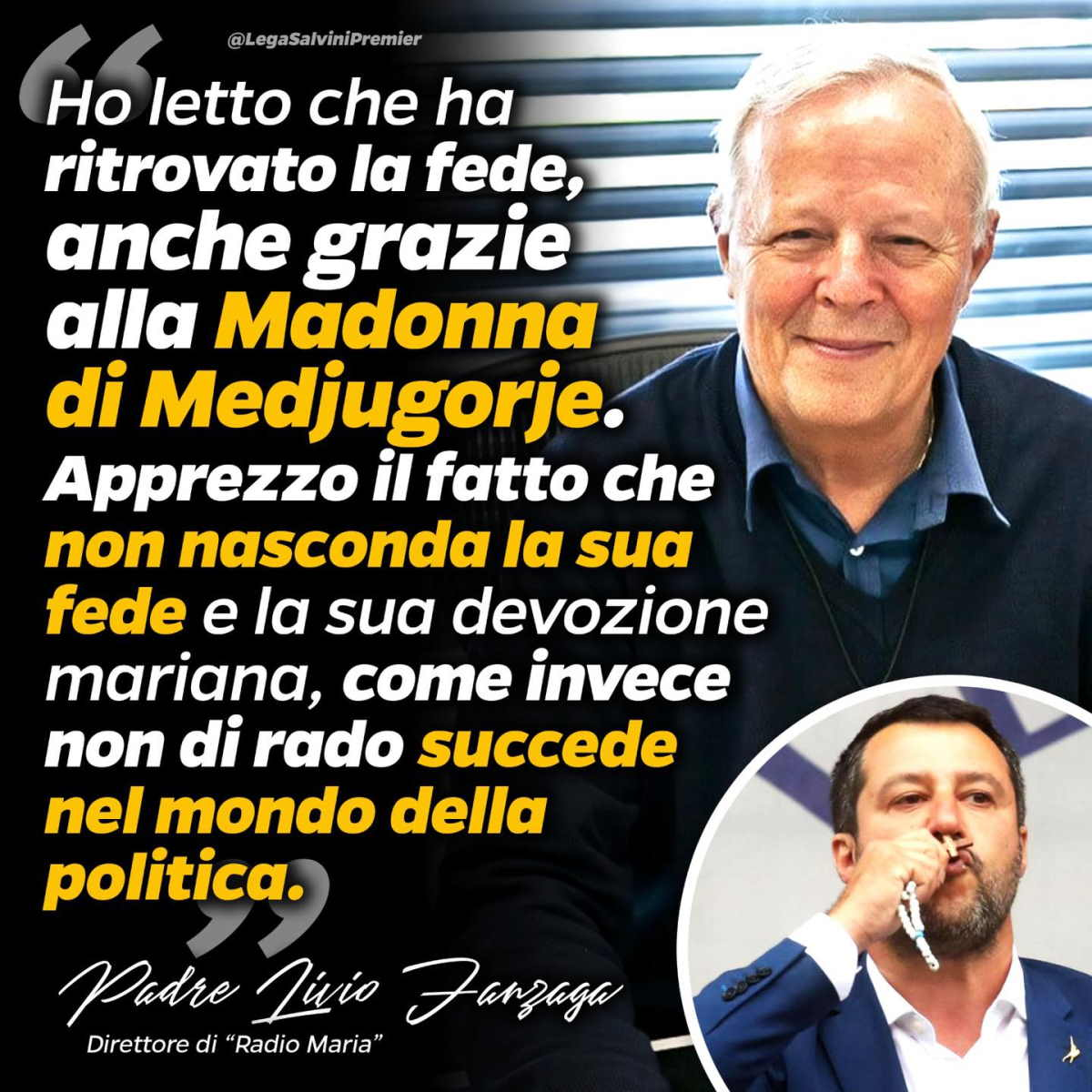 La confusione di Salvini, e non solo sua, su fede e carità