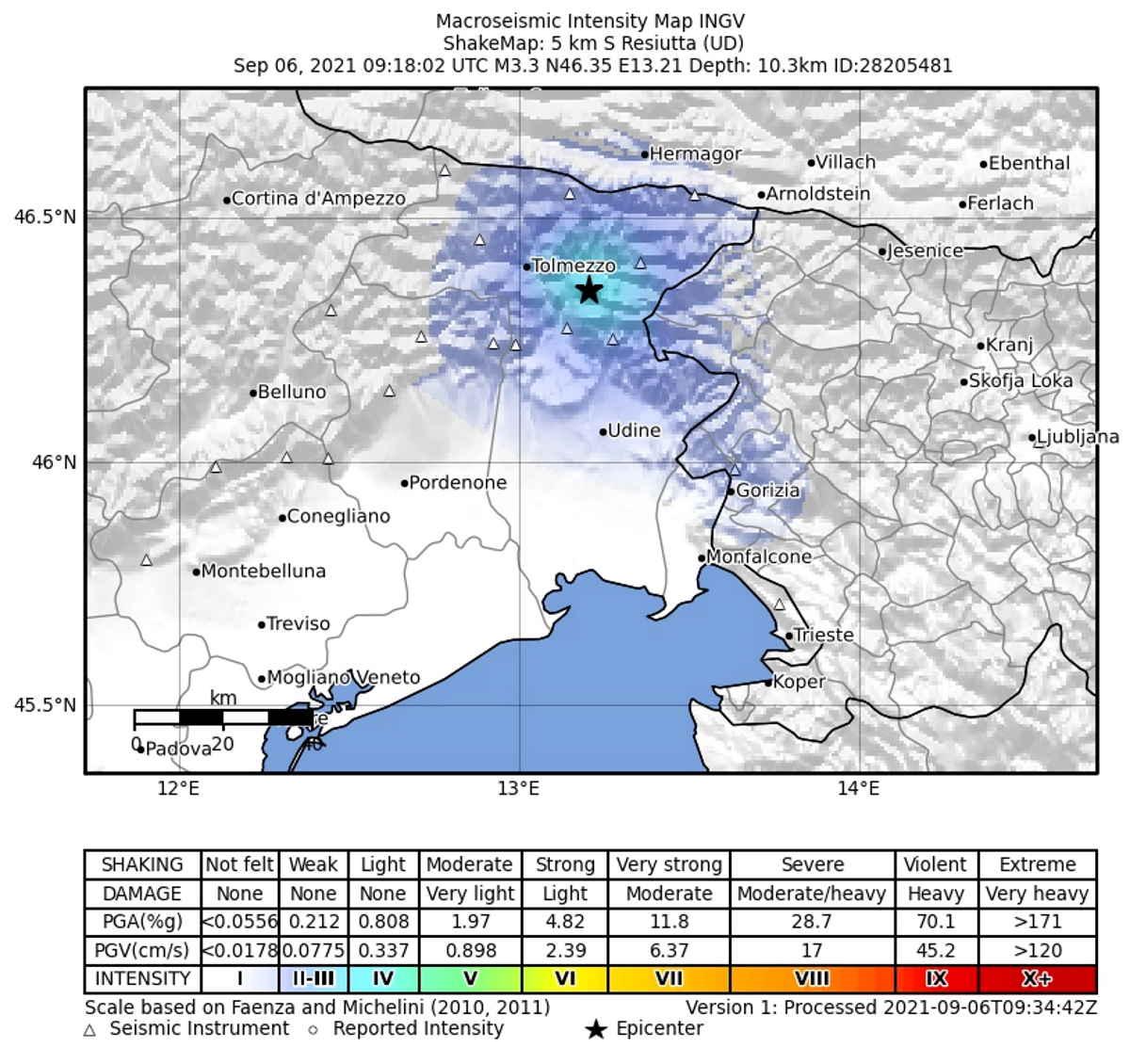 Scossa di terremoto a Resiutta, in provincia di Udine
