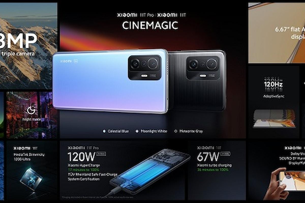Xiaomi 11T Pro e Xiaomi 11T presentati ufficialmente: ricarica rapida 120W, tanta potenza e Cinemagic