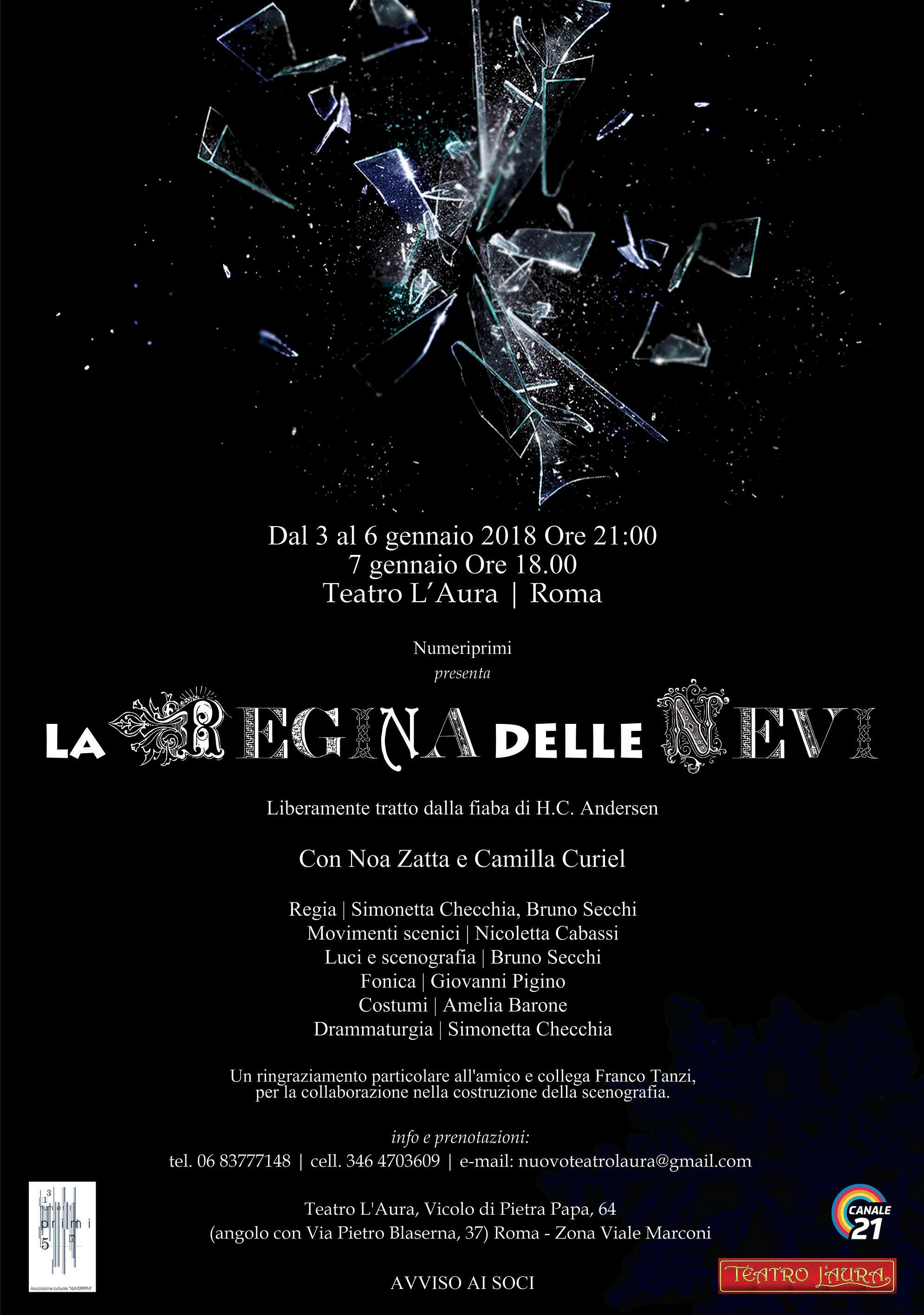 LA REGINA DELLE NEVI al Teatro L'Aura dal 3 al 7 gennaio 2018