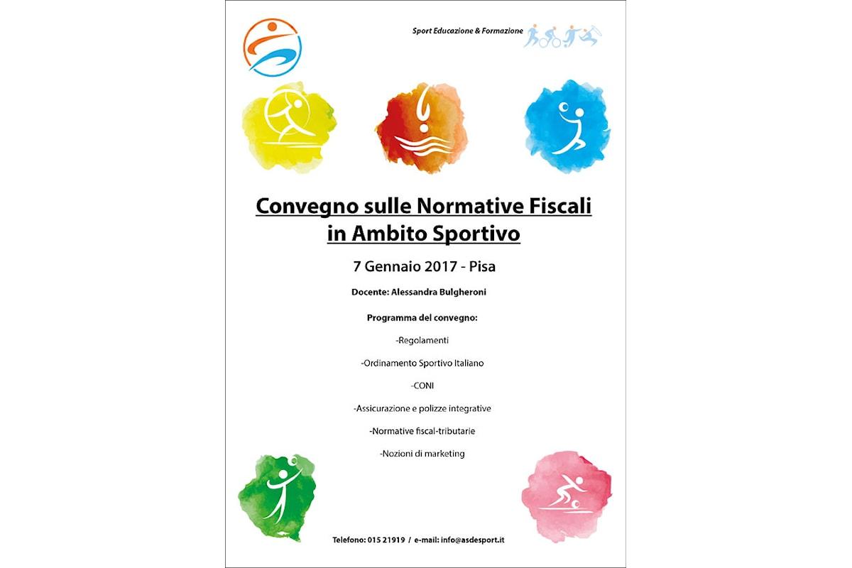 Convegno sulle normative fiscali in ambito sportivo il 7 Gennaio 2017 a Pisa