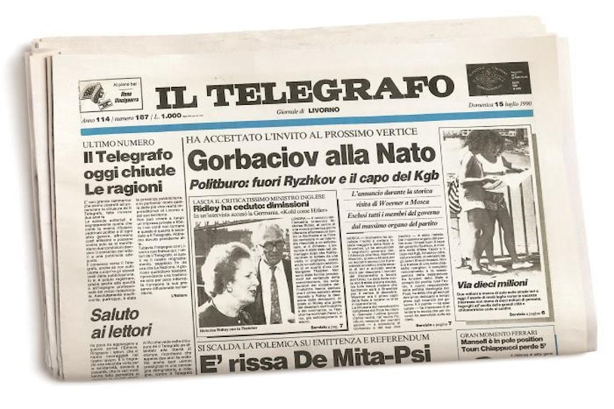 Il Telegrafo torna in edicola da sabato 8 luglio con l'editore Riffeser Monti