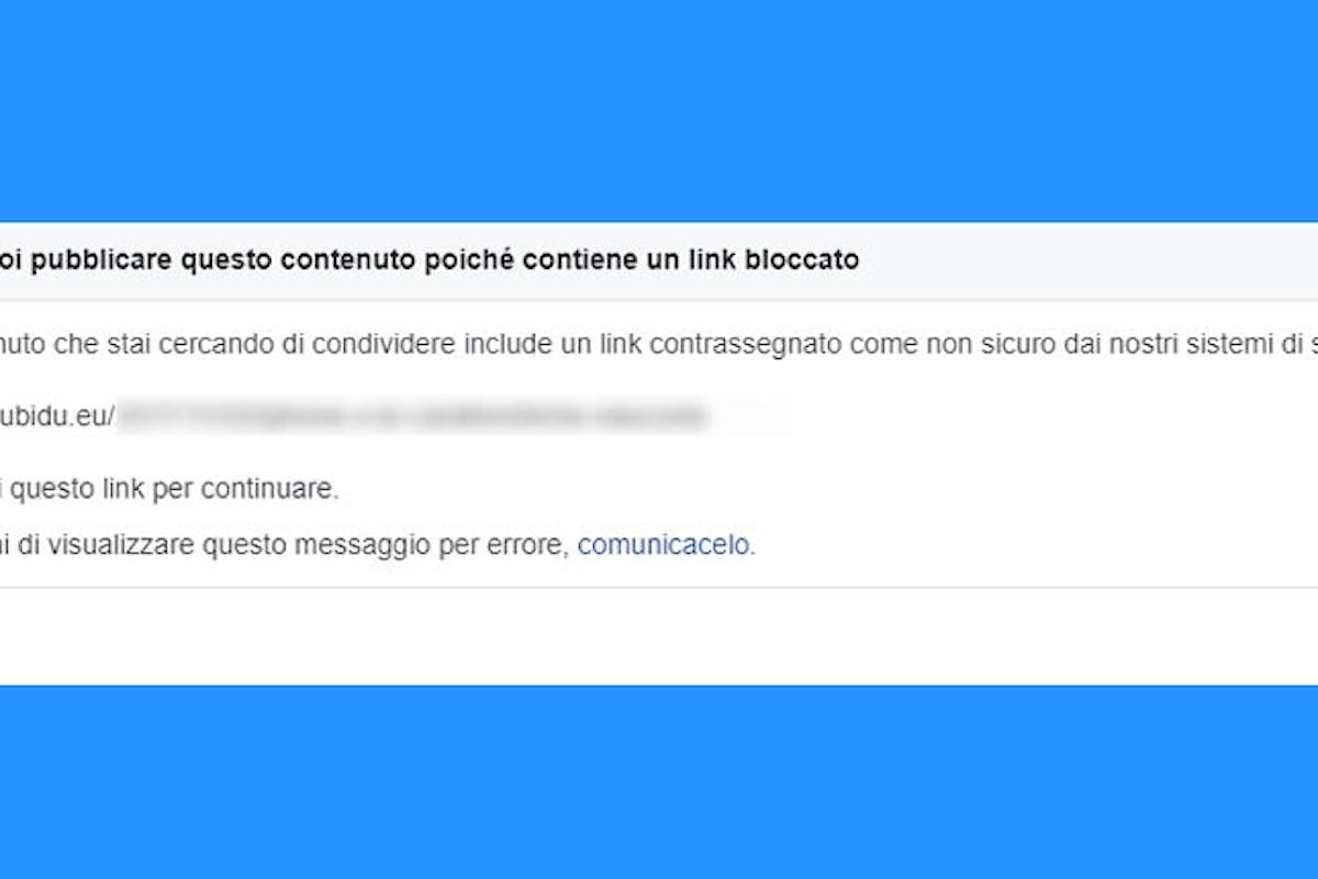 Facebook, cosa fare se il social blocca i link del blog