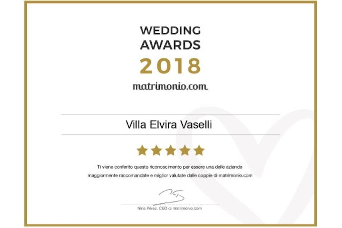 Wedding Awards 2018: Villa Elvira Vaselli riceve il premio più prestigioso del settore